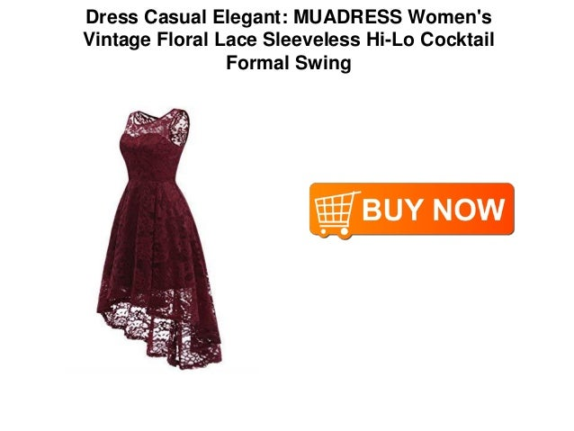 4b687972572cfb Dress Casual Elegant  MUADRESS Women s Vintage Floral Lace Sleeveless Hi-Lo  Cocktail Formal Swing  4.