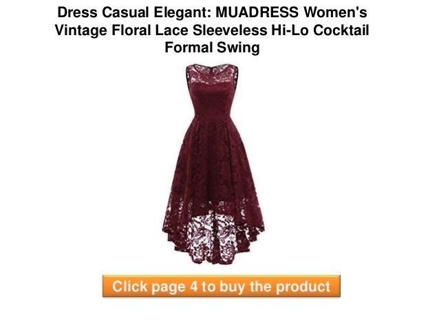 2a74581e913f7a Dress Casual Elegant   MUADRESS women s Vintage Floral Lace Sleeveless  Hi-Lo Cocktail Formal Swing elegant casual dresses