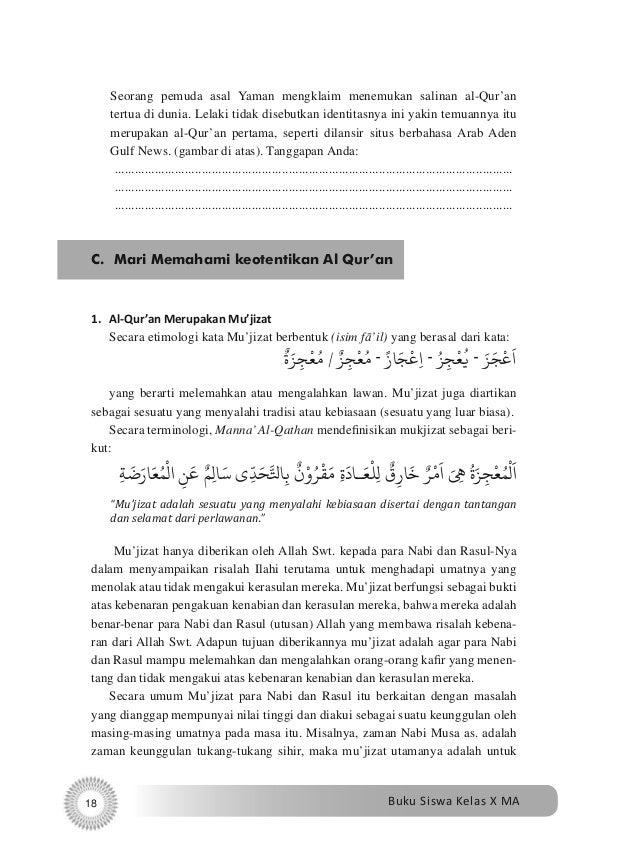 Buku Alquran Hadis Ma 10 Siswa