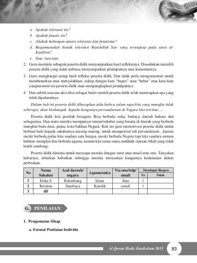Buku Alquran Hadis Mts 7 Guru