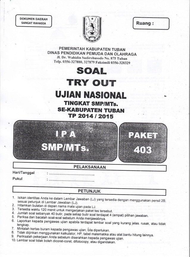 Kumpulan Soal Tryout Kab Ujian Nasional Un Ipa Smp Tahun 2015 Se