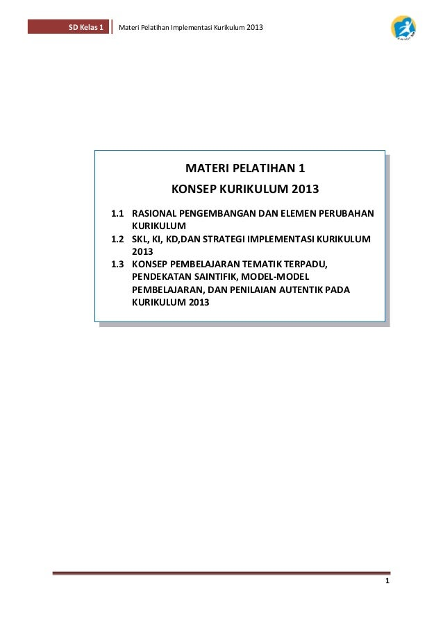 Buku Materi Pelatihan Kurikulum 2013 Kelas 1 Sd