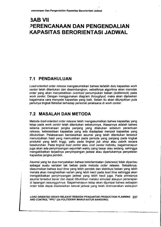 srencanaan Dan PengendaJian Kapasitas Berorientasi Jadwal 3AB VII PERENCANAAN DAN PENGENDALIAN KAPASITAS BERORIENTASI JADW...