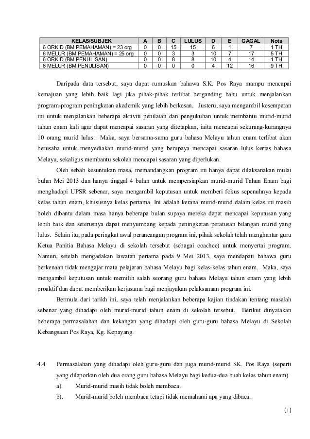 KELAS/SUBJEK A B C LULUS D E GAGAL Nota 6 ORKID (BM PEMAHAMAN) = 23 org 0 0 15 15 6 1 7 1 TH 6 MELUR (BM PEMAHAMAN) = 25 o...