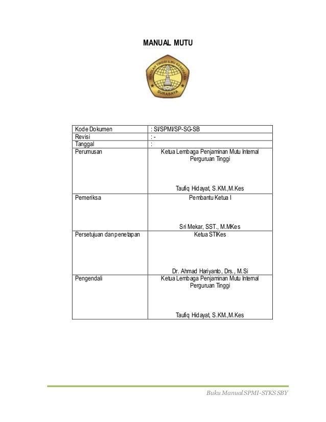 Buku Manual SPMI-STKS SBY MANUAL MUTU Kode Dokumen : SI/SPMI/SP-SG-SB Revisi : - Tanggal : Perumusan Ketua Lembaga Penjami...