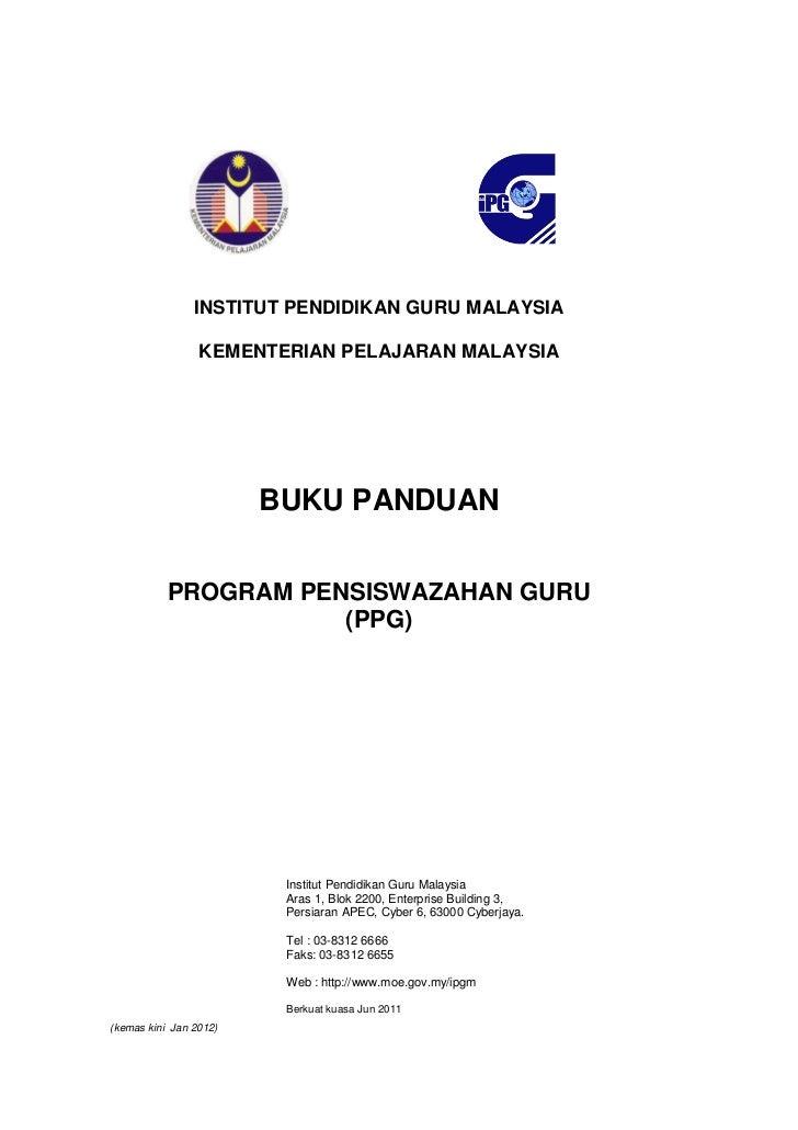 INSTITUT PENDIDIKAN GURU MALAYSIA                 KEMENTERIAN PELAJARAN MALAYSIA                        BUKU PANDUAN      ...