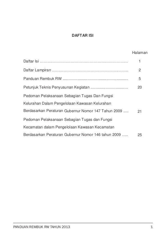 PANDUAN REMBUK RW TAHUN 2013 DAFTAR ISI Halaman Daftar Isi …………………………………………………………… Daftar Lampiran …………………………………………………... ...