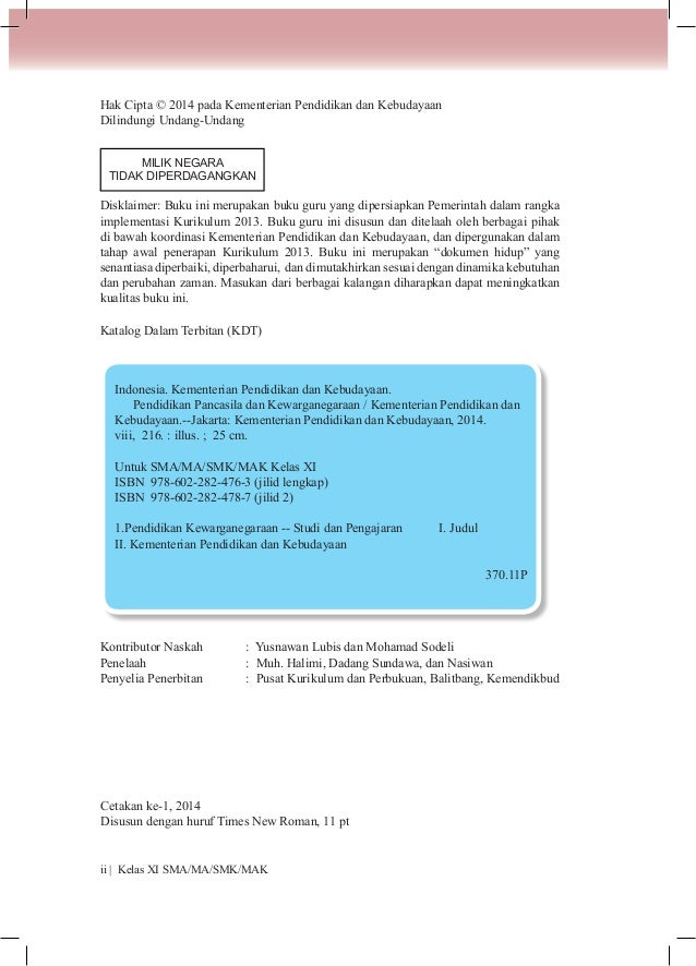 Buku Pegangan Guru PPKN SMA/SMK Kelas 11 Kurikulum 2013 Slide 2