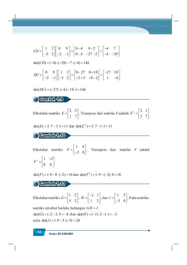 MatematikaKurikulum 2013 13 det( ) 8 det( ) 3 24 24 3 8 det( ) det( ) det( ) det( ) G H I I H G Contoh 1.12 Diketahui matr...