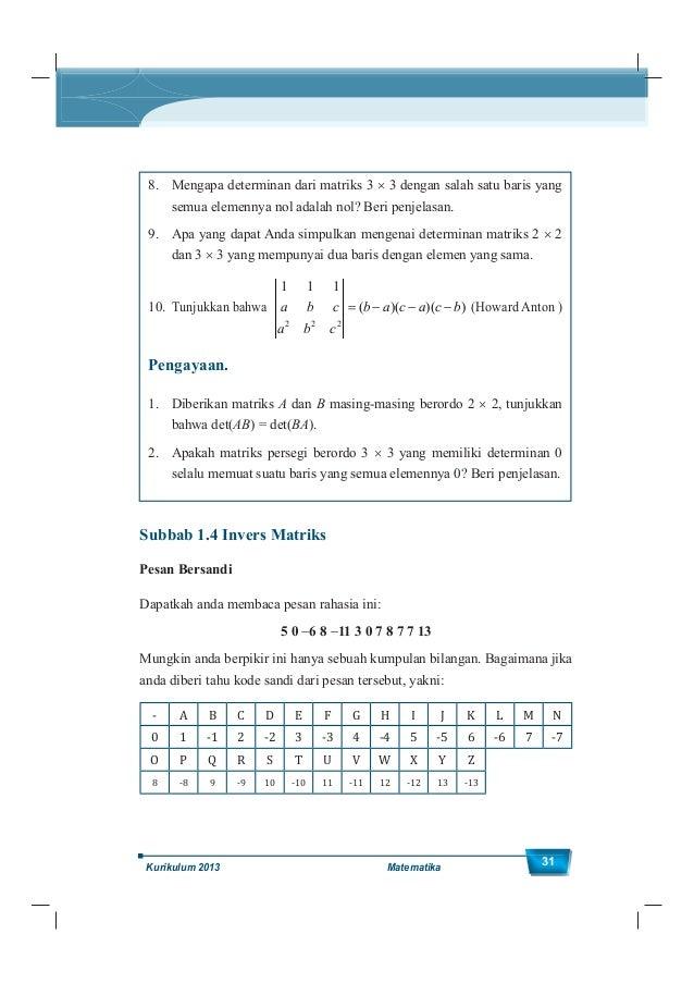 Kelas XII SMA/MA 32 Anda akan dengan mudah membaca pesannya, yakni: 5 0 6 8 11 3 0 7 8 7 7 13 I - L O V E - M O M M Y Jadi...