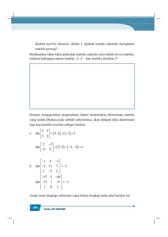 MatematikaKurikulum 2013 37 Tabel 1. 1 informasi matriks terkait ukuran, determinannya dan keberadaan invers matriksnya No...