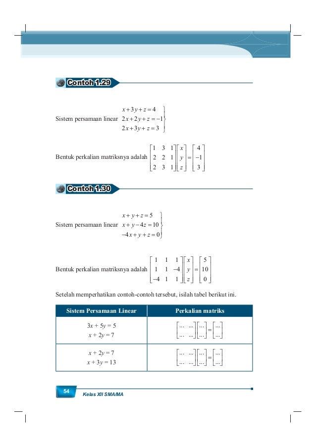 MatematikaKurikulum 2013 55 Sistem Persamaan Linear Perkalian matriks x 2y + z = 2x 5y + z = 1 3x 7y + 2z = 1 ... ... ... ...