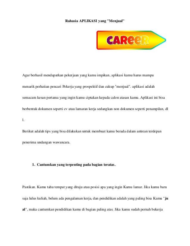 Buku rahasia resume yang menjual wwwilmubisnisusahanet