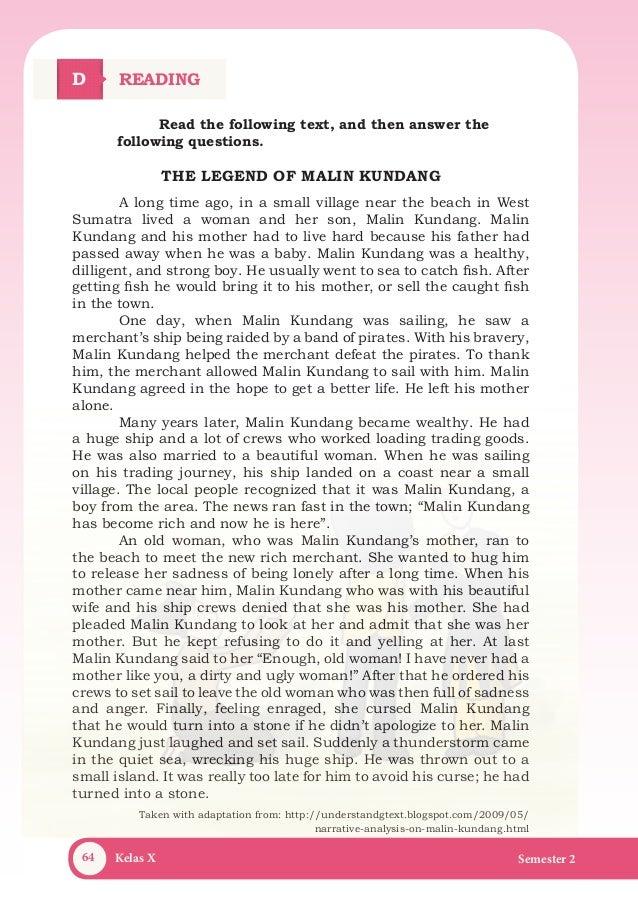 Naskah Drama Cerita Rakyat Malin Kundang Dalam Bahasa Inggris