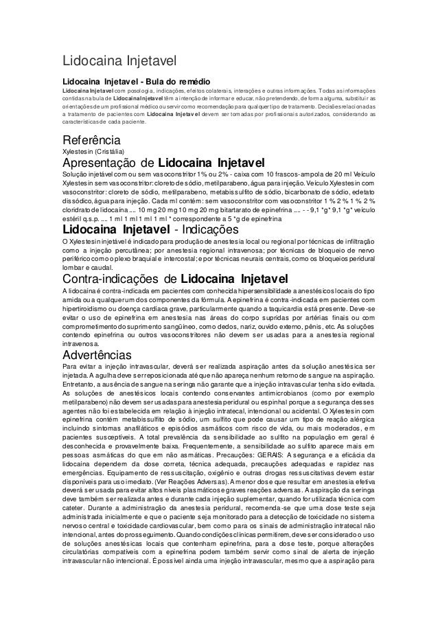 Lidocaina Injetavel Lidocaina Injetavel - Bula do remédio Lidocaina Injetavel com posologia, indicações, efeitos colaterai...