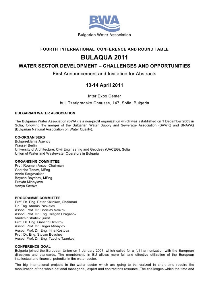 Bulgarian Water Association                FOURTH INTERNATIONAL CONFERENCE AND ROUND TABLE                                ...