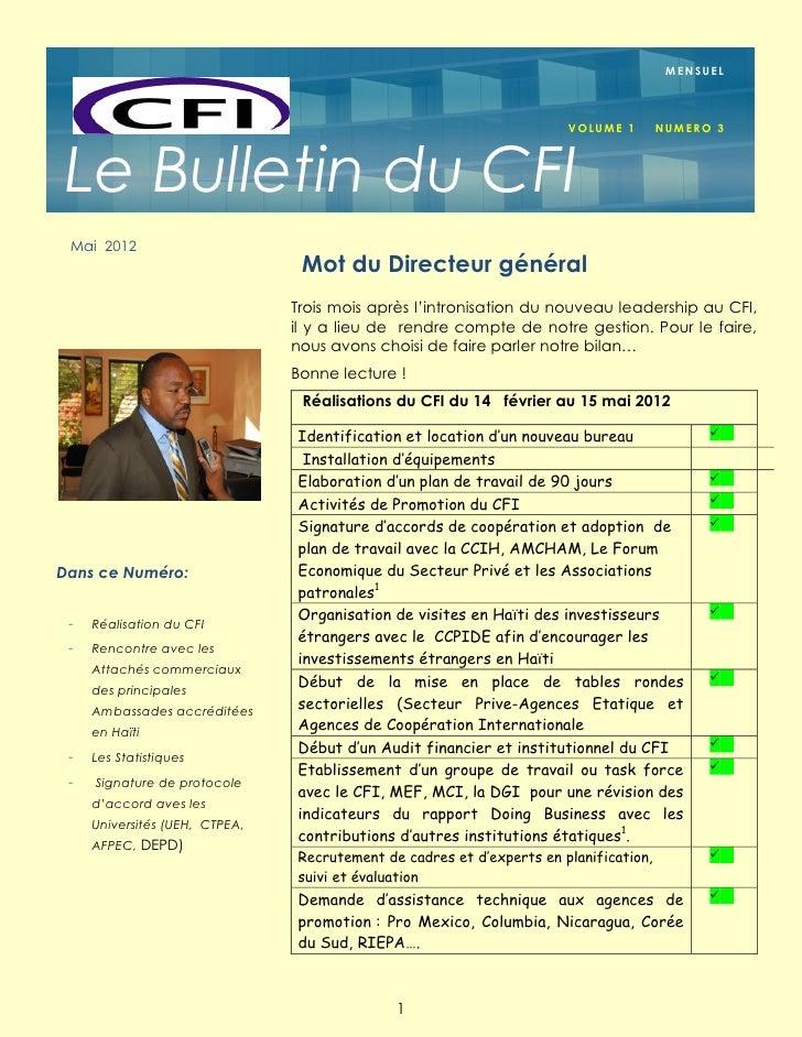 MENSUEL                                                                       VOLUME 1        NU M E R O 3 Le Bulletin du ...