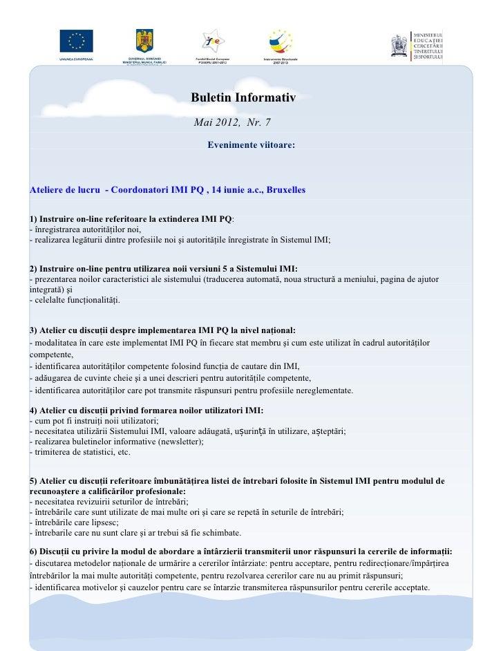 Buletin Informativ                                                 Mai 2012, Nr. 7                                        ...