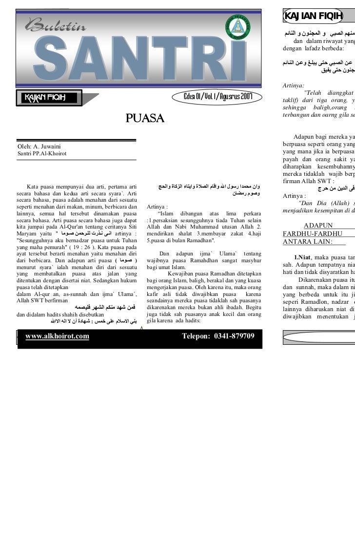 Buletin santri       Edisi 03 / Vol. 01 / September 2007                    KAJIAN FIQIH                       Buletin san...
