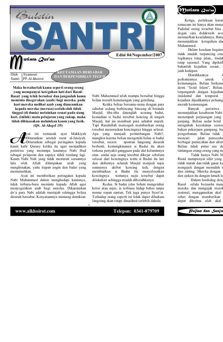 Buletin santri        Edisi 04 / Vol. 01 / Oktober 2007                  Mutiara        Quran           Buletin santri    ...
