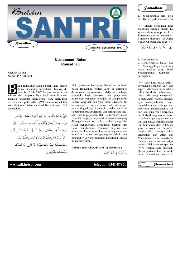 Buletin santri                  Edisi 03 / Vol. 01 / September 2007                                           Ramadhan    ...