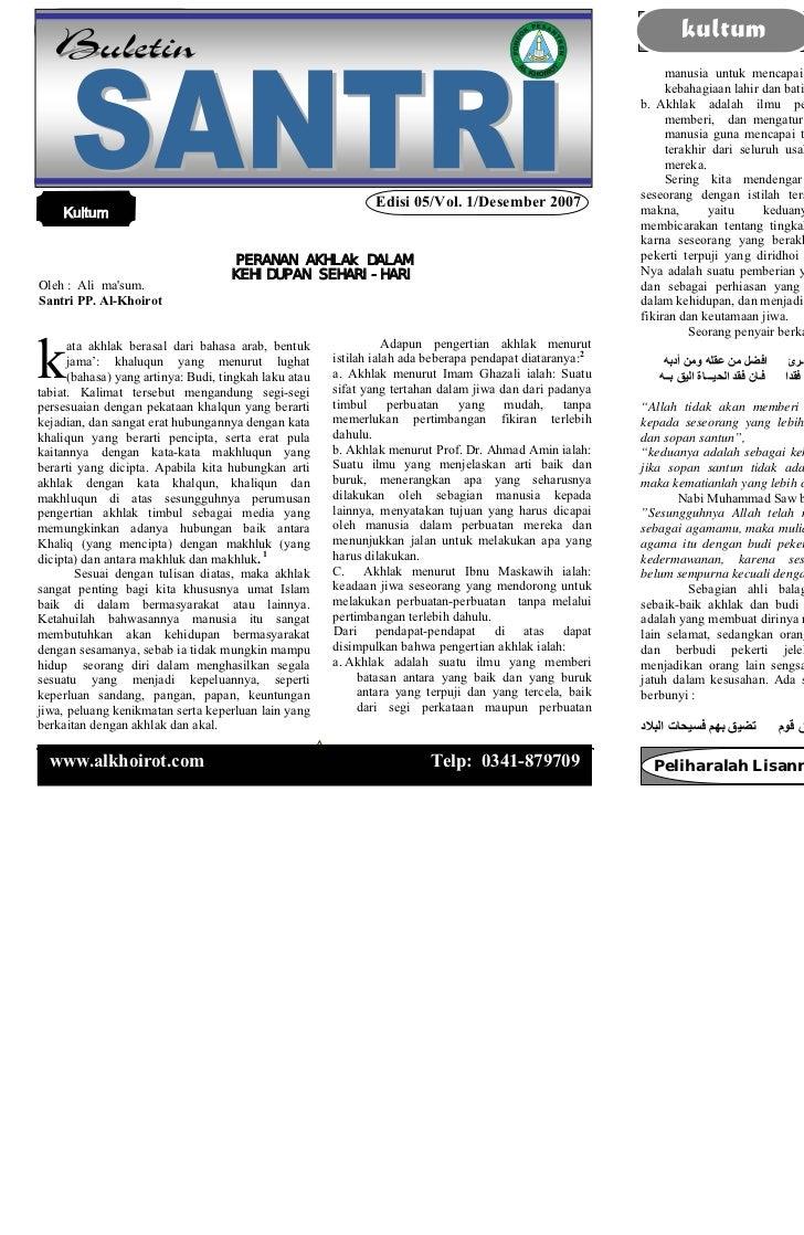 Buletin santri       Edisi 05 / Vol. 05 / Desember 2007                       kultum                               Buletin...