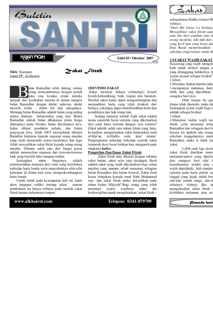 Buletin santri      Edisi 03 / Vol. 01 / September 2007                                             Buletin santri        ...