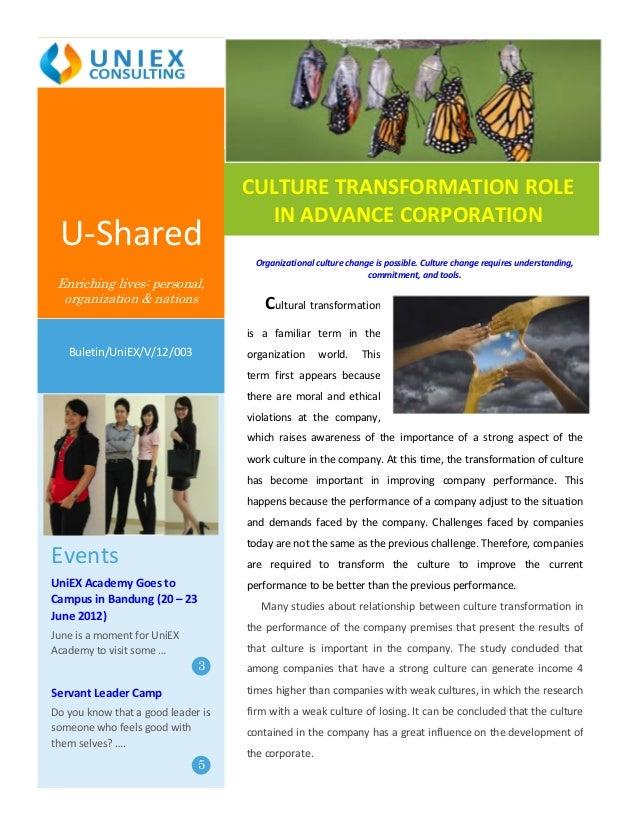 CULTURE TRANSFORMATION ROLE                                      IN ADVANCE CORPORATION U-Shared                          ...