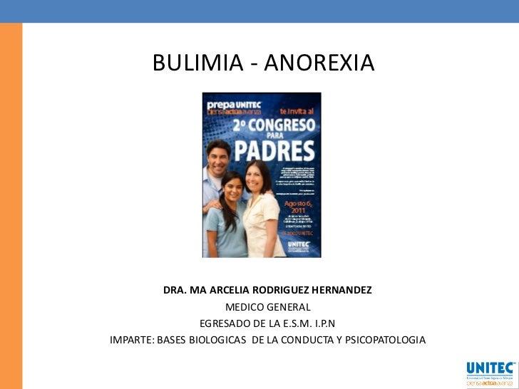 BULIMIA - ANOREXIA          DRA. MA ARCELIA RODRIGUEZ HERNANDEZ                     MEDICO GENERAL                 EGRESAD...