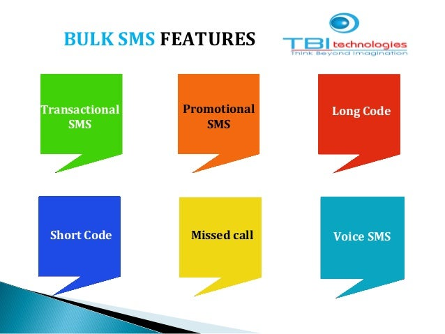 BULK SMS FEATURES Transactional SMS Promotional SMS Long Code Short Code Missed call Voice SMS