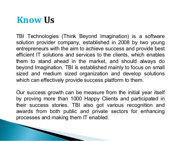 Tbitechnologies at a glance .......... 25+ Regional Sales Offices ............ Bhopal Headquarters .......... 2000+ active...