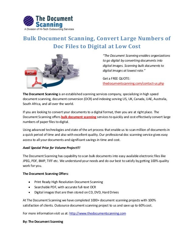 Bulk document scanning convert large numbers of doc files for Low cost document scanner