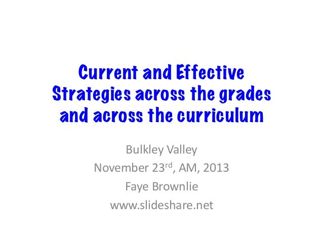 Current and Effective Strategies across the grades and across the curriculum   Bulkley  Valley   November  23rd, ...