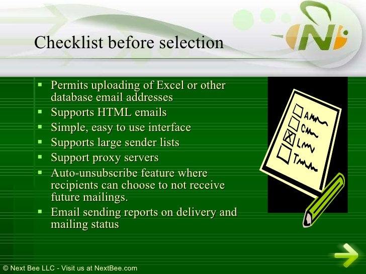 <ul><li>Permits uploading of Excel or other database email addresses </li></ul><ul><li>Supports HTML emails </li></ul><ul>...