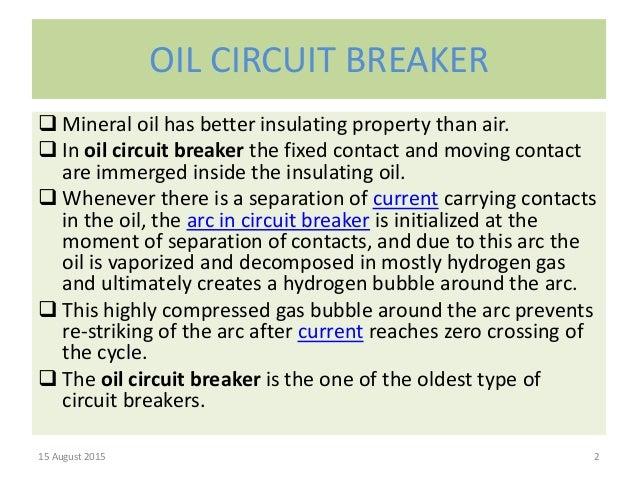 Bulk Oil Minimum Oil Circuit Breakers