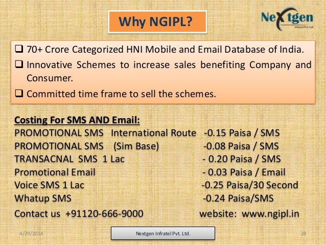 4/29/2014 Nextgen Infratel Pvt. Ltd. 28  70+ Crore Categorized HNI Mobile and Email Database of India.  Innovative Schem...
