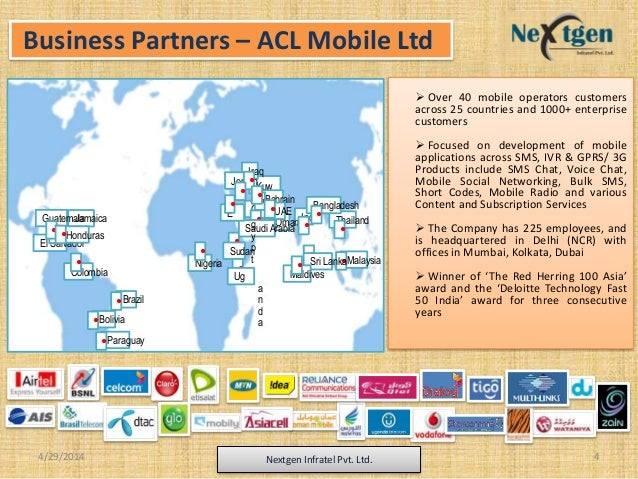  Over 40 mobile operators customers across 25 countries and 1000+ enterprise customers  Focused on development of mobile...