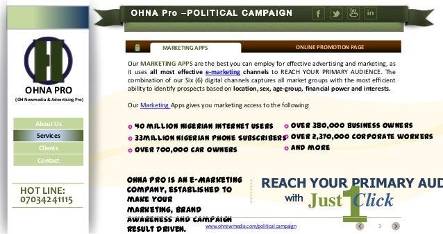 Bulk SMS, Emails, Linkedin, Google, Twitter, Facebook & OHNA Pro adverts for political campaign marketing in nigeria Slide 3