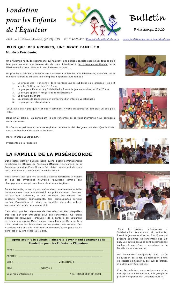 Fondation pour les Enfants                                                                                             Bul...