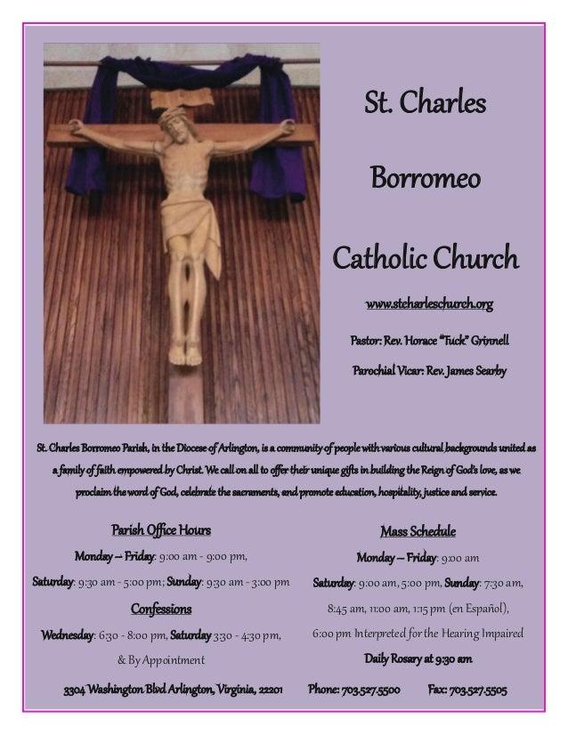 St. Charles Bqrrqmeq Parish, io the Diqcese qf Arlioguqo, is a cqmmvoitz qf reqrlezithxariqvs cvltwral backgrqvods voited ...