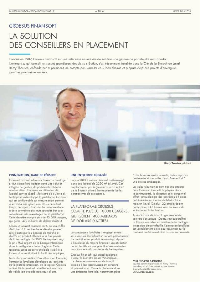 Bulletin d'information économique Laval - Hiver 2013-14 Slide 2
