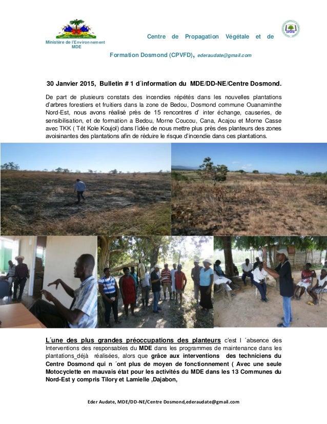 Centre de Propagation Végétale et de Ministère de l'Environnement MDE Formation Dosmond (CPVFD), ederaudate@gmail.com Eder...