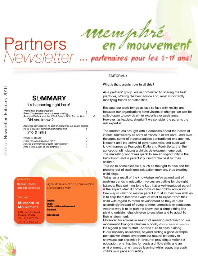 SUMMARY It's happening right here! Transition to Kindergarten 2 Reaching parents in a business setting 3 Avenir d'Enfant a...
