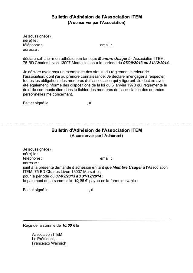 Bulletin adh sion membre usager association item for Exemple de reglement interieur association
