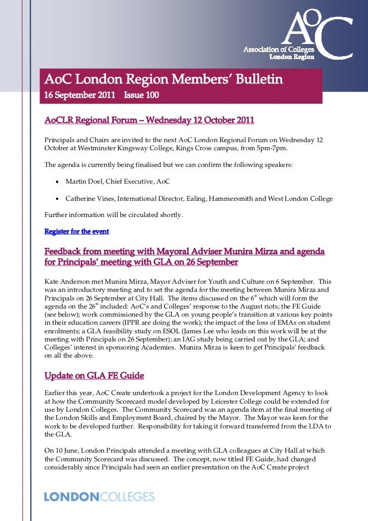 AoC London Region Members' Bulletin16 September 2011 Issue 100AoCLR Regional Forum – Wednesday 12 October 2011Principals a...
