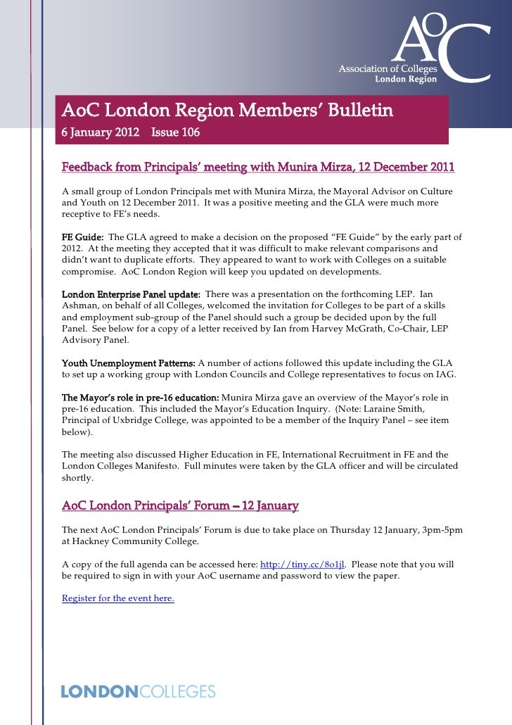 AoC London Region Members' Bulletin6 January 2012 Issue 106Feedback from Principals' meeting with Munira Mirza, 12 Decembe...