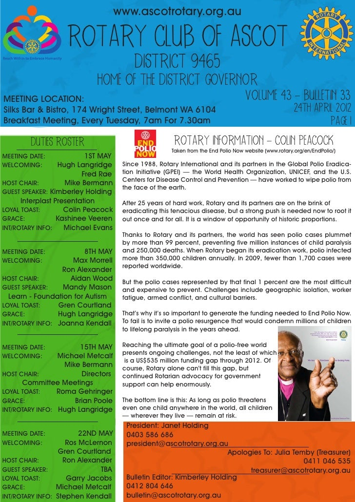 www.ascotrotary.org.au                   ROTARY CLUB OF ASCOT                                          DISTRICT 9465      ...