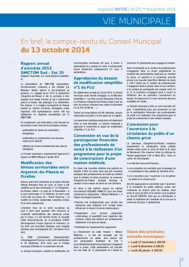 Argentré INFOS / N°271 • Novembre 2014  vie municipale  En bref, le compte-rendu du Conseil Municipal  du 13 octobre 2014 ...