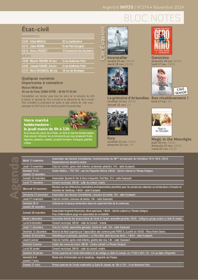 Agenda  Argentré INFOS / N°274 • Novembre 2014  bloc notes  État-civil  Naissances  30/09 Célia NAVILLE 22 La Guilloisière...