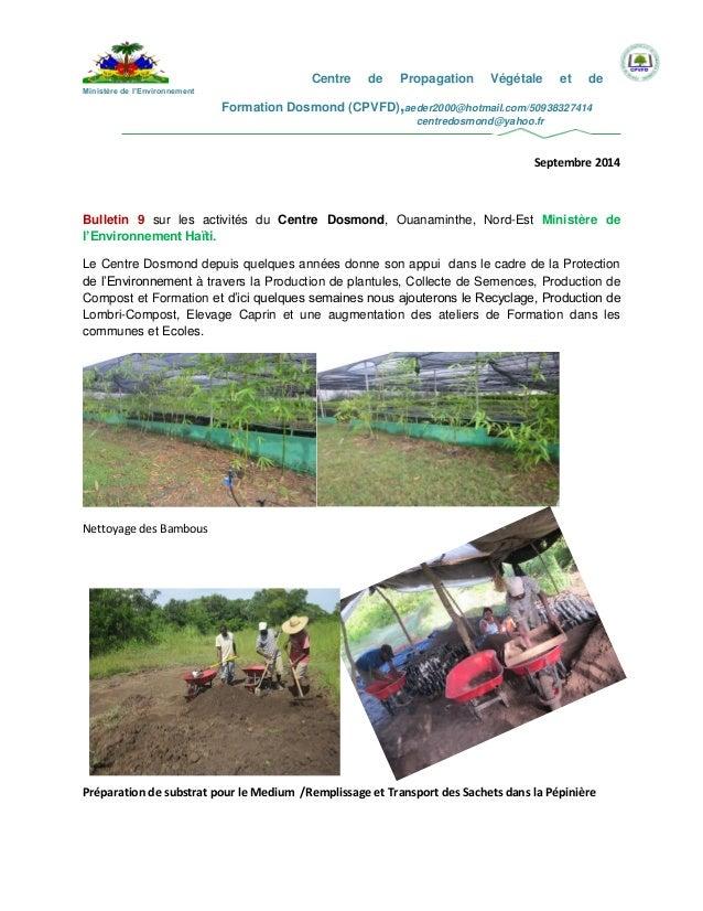 Centre de Propagation Végétale et de  Ministère de l'Environnement  Formation Dosmond (CPVFD),aeder2000@hotmail.com/509383...